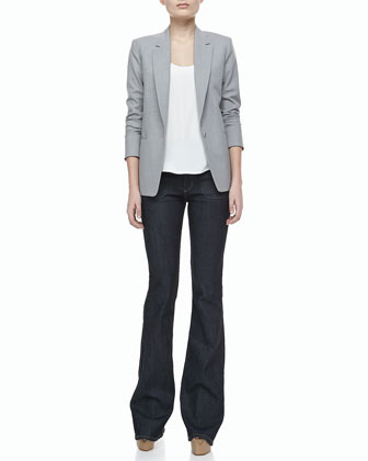 Keto One-Button Long-Sleeve Jacket, Leonata Denim Wide-Leg Pants & Isaac Selection Silk Tank Top