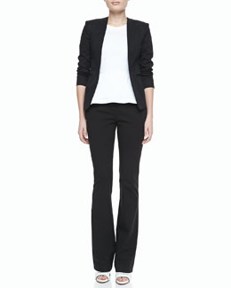 Theory Tadean TS Cotton Open-Front Jacket, Ballise Cotton Peplum Top & Tevita Cotton Flare-Leg Pants