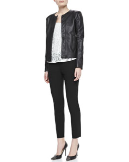 Theory Raoul Crossover Leather Jacket, Isaac Lace Sleeveless Tank Top & Bedina Suiting Skinny-Leg Pants