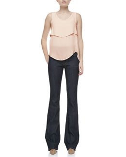 Theory Apala Double Georgette Silk Tank Top & Leonata Denim Wide-Leg Pants