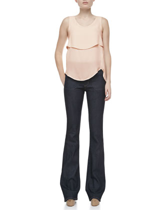 Apala Double Georgette Silk Tank Top & Leonata Denim Wide-Leg Pants