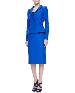 Oscar de la Renta Peplum Faille Jacket & Pencil Skirt