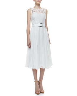 Oscar de la Renta Cutout Pleated Dress & Studded Leather Belt