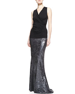 Donna Karan Sleeveless V-Neck Drape Top & Sequined Floor Length Bias Skirt