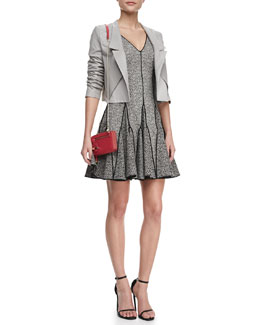 Halston Heritage Cropped Leather Open Jacket & Outlined Printed Flare Dress