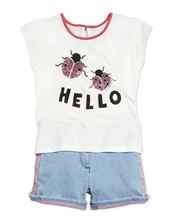 Little Marc Jacobs Sequin-Ladybug Jersey Tee & Two-Tone Denim Shorts, Sizes 6-10