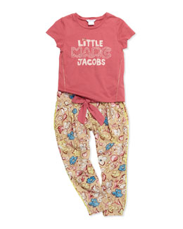 Little Marc Jacobs Logo Short-Sleeve Tee & Floral-Print Pleated Pants, Sizes 2-5