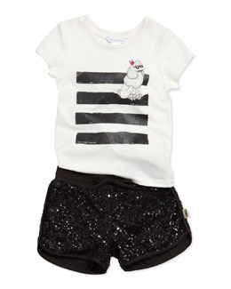 Little Marc Jacobs Poodle Printed Jersey Tee & Sequin Shorts, Sizes 6-10