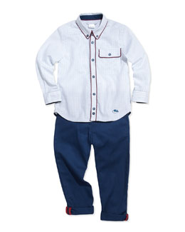 Little Marc Jacobs Woven Graph-Check Shirt & Tapered Twill Pants, Sizes 6-10
