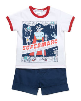 Little Marc Jacobs Supermarc Short-Sleeve Ringer Tee & Stretch-Cotton Mouse-Pocket Shorts, 3-18 Months