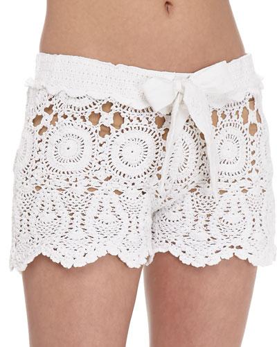 Crochet Tie-Waist Shorts & Microfiber Boyshort Underwear