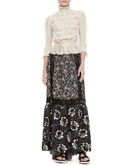 Marc Jacobs Sasha Victorian Blouse & Lace-Inset Long Floral Skirt