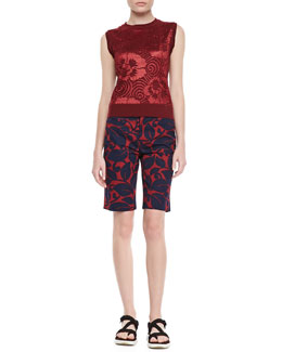 Marc Jacobs Sleeveless Floral Sweater & Bermuda Shorts