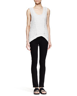 Helmut Lang Sleeveless Arced Knit Top and Five-Pocket Skinny Jeans