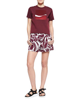 Marc Jacobs Embroidered-Square Crew Sweater and Hibiscus Printed Midi Shorts