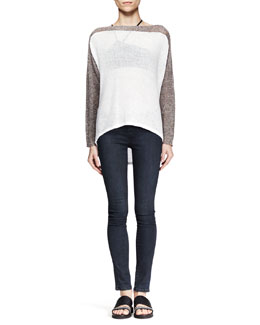 Helmut Lang Colorblock High-Low Pullover and Wren Pull-On Legging Jeans