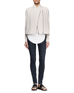 Helmut Lang Double-Zip Sweatshirt-Knit Jacket and Feather Jersey Tee