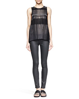 Helmut Lang Static Paneled Jacquard Tank and Coated Stretch Legging Jeans