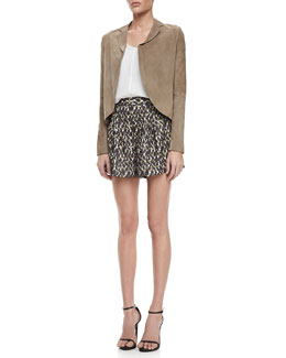 Halston Heritage Open-Front Suede Jacket, Lace-Side Silk Top & Pleated Printed Satin Shorts