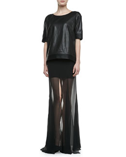 Theyskens' Theory Bascal Short-Sleeve Leather Top & Fimothy Sheer-Bottom Skirt