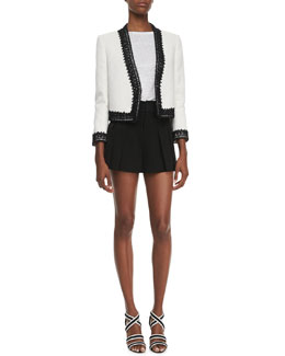 Alice + Olivia Amaya Embroidered-Trim Blazer, Tran Piped-Trim Tee & High-Waist Butterfly Shorts