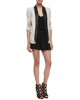 Alice + Olivia Two-Tone Leather-Collar Blazer, Guenda Leather-Strap Tank & High-Waist Butterfly Shorts