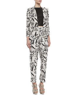 Alice + Olivia Vanna Printed Open Jacket, Lorita Leather Crop Top & Printed Pleated High-Waist Pants