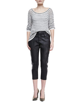 Alice + Olivia Ethan Striped Knit Sweater & Anders Leather/Ponte Pants