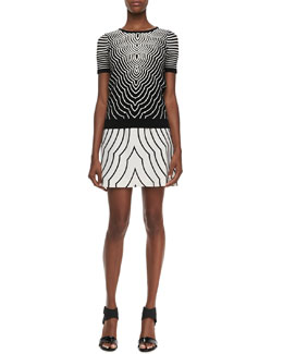 MARC by Marc Jacobs Radio Waves Crewneck Short-Sleeve Sweater & Printed A-Line Skirt