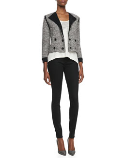 MARC by Marc Jacobs Calley Double-Breasted Sweater-Knit Jacket, Carmen Flame Jersey Tank Top & Stick Denim Jeans