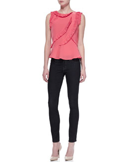 MARC by Marc Jacobs Frances Ruffled Crepe Top and Stick Denim Skinny Jeans