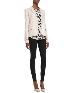MARC by Marc Jacobs Stretch Cotton/Linen Blazer, Sporty Pinwheel Floral-Print Top & Stick Denim Jeans