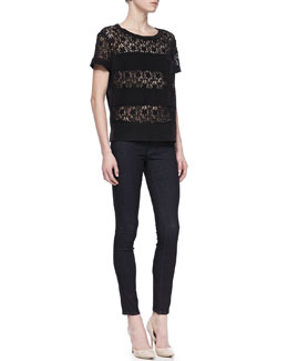 MARC by Marc Jacobs Leila Lace-Stripe Top and Stick Denim Skinny Jeans