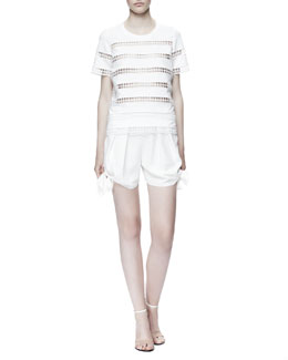 Chloe Eyelet-Striped Cotton Shirt & Light Cady Tie Shorts