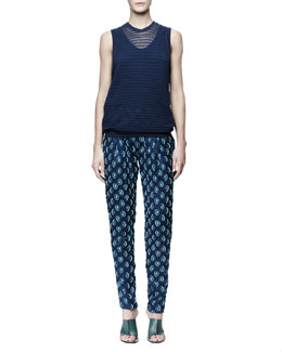 Chloe Sheer Smock Stitch Shell, Silk Crepe de Chine Tank & Medallion Jacquard Pants