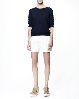 Chloe Sleeveless Lace-Trim Sweater & Light Rustic Tweed Shorts