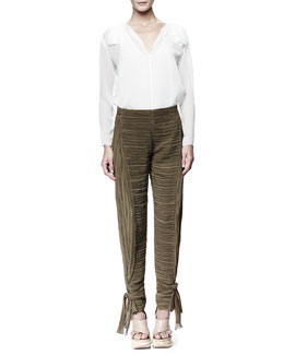 Chloe Long-Sleeve Georgette Blouse & Tie-Ankle Pants
