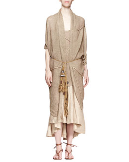 Donna Karan Short-Sleeve Cozy Cardigan, Asymmetric Racerback Tank & Fold-Over Linen-Blend A-Line Skirt