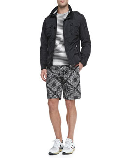 Moncler Mate Nylon Field Jacket, Striped Short-Sleeve Tee & Floral-Print Bermuda Shorts