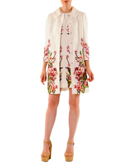 Dolce & Gabbana 3/4-Sleeve Snap-Front Floral Jacquard Coat & Mini Shift Dress