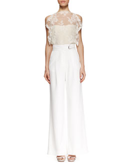 Wes Gordon Vine Lace Split-Shoulder Blouse and High-Waist Flared Trousers