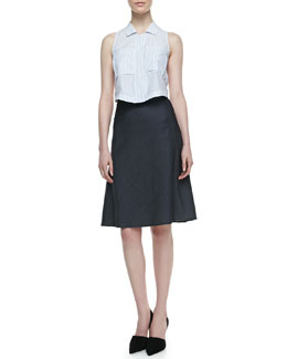 Theory Gemia Sleeveless Blouse & Lonai D Knee-Length Skirt