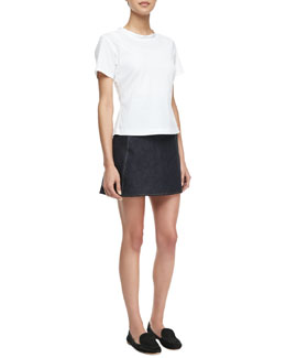 Theory Flare Luxe Blouse with Back Zip & Lonati D Miniskirt