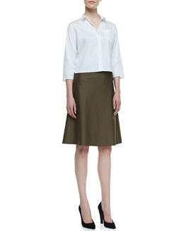 Theory Lerlynn Button-Up Blouse & Lonai TS Mid-Length Skirt
