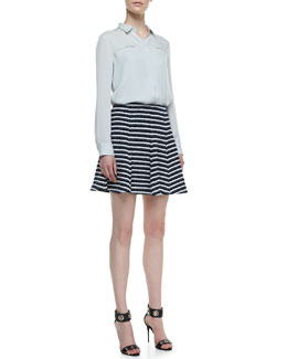 Theory Olava Double-Georgette Blouse & Lyerly Flared Striped Knit Skirt