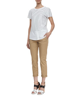 Theory Niceville Striped Mix-Fabric Blouse & Gavino Cuffed Khaki Pants