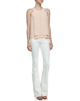 Theory Lylani Double-Georgette Layered Blouse & Leonata Flare-Leg Jeans