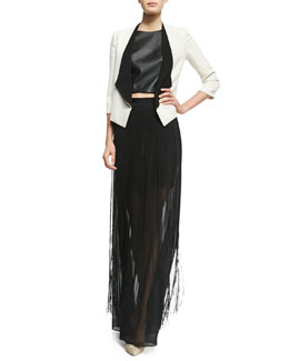 Alice + Olivia Oliver Two-Tone Open Blazer, Lorita Leather Crop Top & Caitlin Fringe-Overlay Maxi Skirt