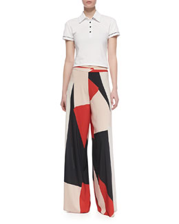 Alice + Olivia Miller Cropped Polo Shirt & Colorblock Super-Flare Pants