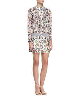 Tory Burch Avery Floral/Stripe Cardigan and Esmeralda Floral Silk Dress